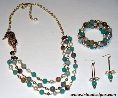 Earrings and Bracelet Amazonite Necklace