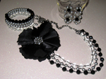 Black & Silver Flower Jewellery Set