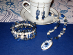 Blue & White Flower Jewellery Set