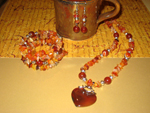 Carnelian Heart Jewellery Set