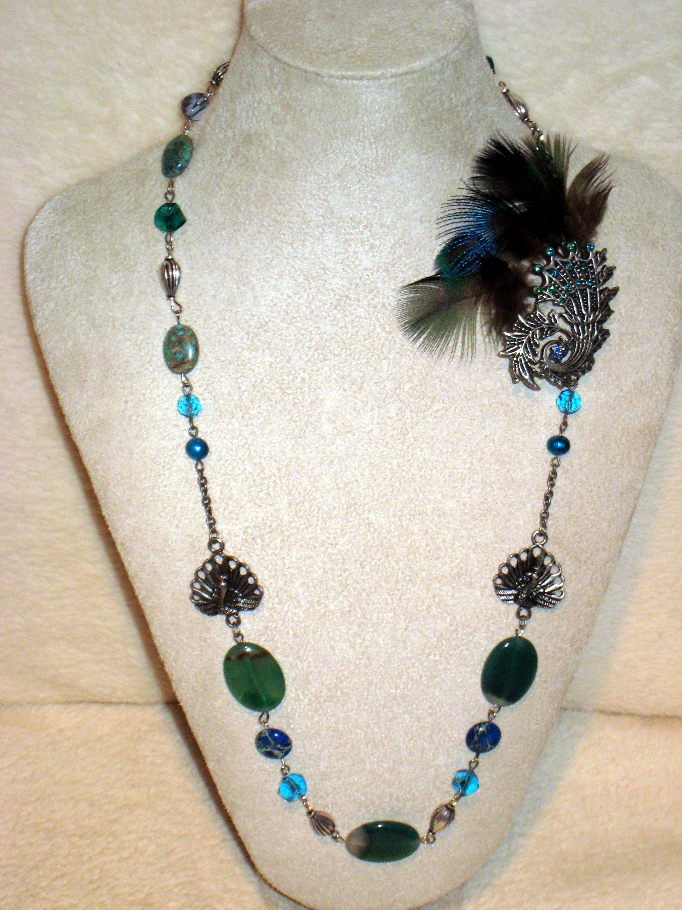 retro feather p boho necklace bohemian vintage charm quick view peacock