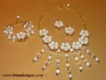 Pearl and Crystal Waterfall jewellery set